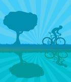 cyklistsilhouettevektor Arkivfoto