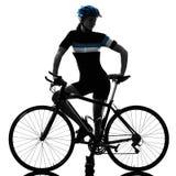 Cyklisty kolarstwa jeździecka rowerowa kobieta odizolowywał białego tło s Obraz Stock