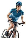 Cyklisty kolarstwa kobiety bielu jeździecki rowerowy tło zdjęcia stock