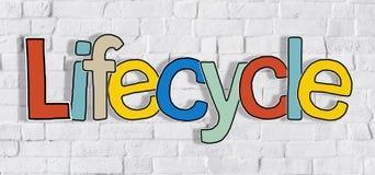 Cyklu życia ściana z cegieł jedno słowo teksta tła Czysty pojęcie Obrazy Royalty Free