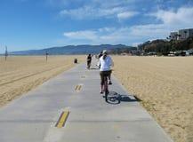 Cyklu pas ruchu w Santa Monica plaży Obrazy Stock