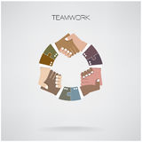 Cyklu uścisku dłoni projekta abstrakcjonistyczny szablon, partnerstwo symbol Zdjęcia Stock