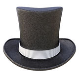 Cylinder. Black cylinder hat with white ribbon. isolated on white royalty free stock photos