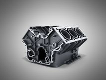 Cylinder block from car with v6 engine 3d render on a grwy backg. Round Royalty Free Stock Image