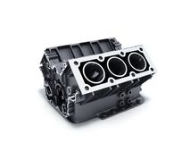 Cylinder block from car with v6 engine 3d render on a white back. Ground Royalty Free Stock Photos
