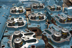 Cylinder Block Heads. At the technician area of the plant Stock Photos