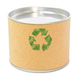Cylinder container with recycle symbol Stock Photo