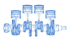 Cylinder crank (3D xray blue on white). Cylinder crank (3D xray blue transparent on white Royalty Free Stock Image