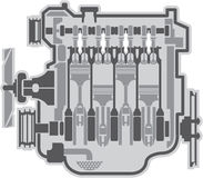 4 cylinder engine vector Stock Photography