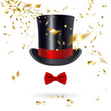 Cylinder Hat with Bow Tie and Confetti Stock Images