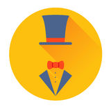 Cylinder hat with butterfly icon Stock Images