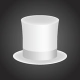 Cylinder hat_2White gentleman hat cylinder with silk ribbon. Elegance and luxury symbol. Volumetric icon isolated on a dark backgr Stock Photography
