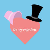 Cylinder and hat women. Heart. Be my valentine. Greeting card. royalty free illustration