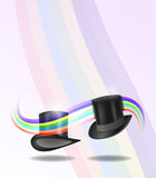 Cylinder hats. Vector cylinder hats connected with rainbow, eps10 file, gradient mesh and transparency used Stock Image