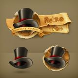 Cylinder hats, vector icons Royalty Free Stock Photos