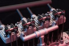 Cylinder head. Colorful four stroke cylinder head Royalty Free Stock Photography