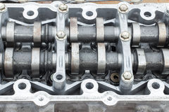 Cylinder head and curved shaft, broken engine Royalty Free Stock Photo