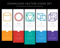 Cylinder infographics design icon vector. 5 vector icons such as Cylinder, Circle, Triangle, Cube, Cube for infographic, layout, annual report, pixel perfect Royalty Free Stock Image