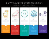 Cylinder infographics design icon vector. 5 vector icons such as Cylinder, Prism, Point, Octahedron, Pyramid for infographic, layout, annual report, pixel Royalty Free Stock Photo