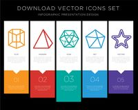Cylinder infographics design icon vector. 5 vector icons such as Cylinder, Pyramid, Dodecahedron, Star for infographic, layout, annual report, pixel perfect icon Stock Image
