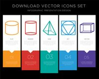 Cylinder infographics design icon vector. 5 vector icons such as Cylinder, Pyramid, Triangle, Hexahedron for infographic, layout, annual report, pixel perfect Stock Images