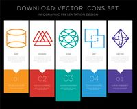 Cylinder infographics design icon vector. 5 vector icons such as Cylinder, Triangle, Combination, Exclude, Octahedron for infographic, layout, annual report Royalty Free Stock Image
