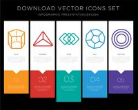 Cylinder infographics design icon vector. 5 vector icons such as Cylinder, Triangle, Square, Dodecahedron, Circle for infographic, layout, annual report, pixel Royalty Free Stock Photo
