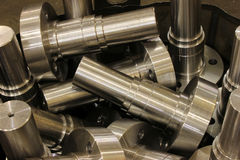 Cylinder. Large rollers inside the factory Stock Photos