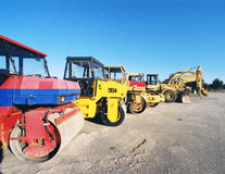 Cylinder machine. Construction machines at perking place Royalty Free Stock Photo