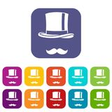 Cylinder and moustaches icons set Royalty Free Stock Image
