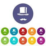 Cylinder and moustaches set icons Stock Photo