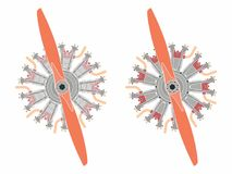 9 cylinder radial engine colored. Without outline. royalty free illustration