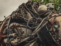 9 cylinder Radial Engine of old airplane Stock Photos