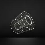 cylinder Specificera av mekanismen struktur för anslutning 3D Geometrisk beståndsdel för galler för design Polygonal beståndsdel  Royaltyfri Fotografi