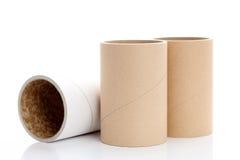 Cardboard tubes. Cylinder tubes isolated on white background royalty free stock photos