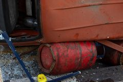 Cylinder under the lorry in hard situations. Suddenly change to hard situations stock photo