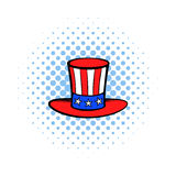 Cylinder in the USA flag colors icon comics style Royalty Free Stock Photography