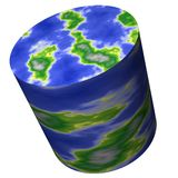 Cylinder World Map Royalty Free Stock Photos