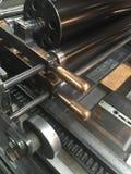 Cylinderpress med moveablen, metalltyp som låsas in i en jakt Arkivfoton