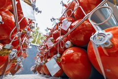 Cylinders for compressed gas. A lot of cylinders combined in a gas ramp royalty free stock images