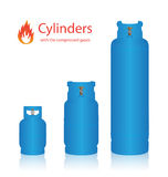Cylinders with the compressed gases Stock Image