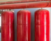 Cylindrar av det industriella släckningssystemet Royaltyfria Foton