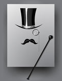 Cylindre, moustache, monocle et canne Photo stock