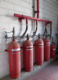 Cylindres de l'halon 1301 Système d'extincteur Images stock