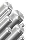 Cylindres en métal sur le blanc Photo stock