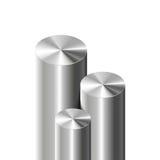 Cylindres en métal sur le blanc Photographie stock