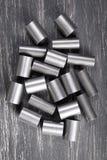 Cylindres en métal sur le fond foncé Photos libres de droits