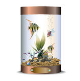 Cylindric bronze aquarium Stock Image