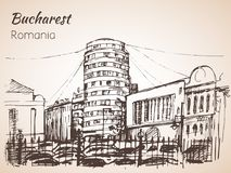 Cylindrical building sketch. Bucharest, Romania. Stock Images