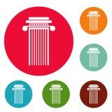 Cylindrical column icons circle set vector. Isolated on white background Stock Photo